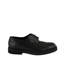 Zapato derby clasica para hombre en piel de color negro con cordones y decoracion Brogue - Tallas disponibles:  36, 37, 38, 46, 47, 48, 49, 50