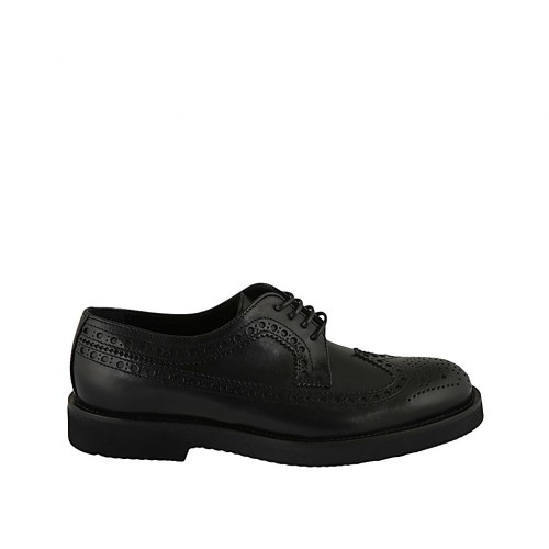 Men's classic laced derby shoe in black leather with Brogue pattern - Available sizes:  36, 37, 38, 46, 47, 48