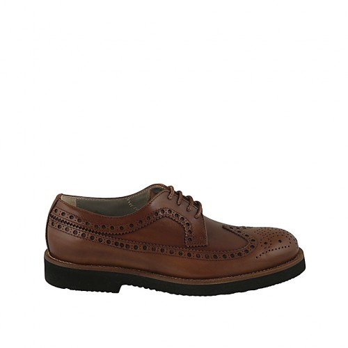 Men's laced derby shoe in tan brown leather with Brogue decorations - Available sizes:  36, 37, 38, 46, 47, 48, 50