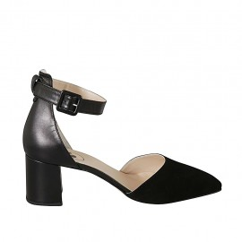 Woman's pointy open shoe with ankle strap in black leather and suede heel 7