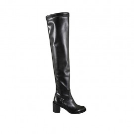 Woman's over-the-knee boot in black leather and elastic material heel 6