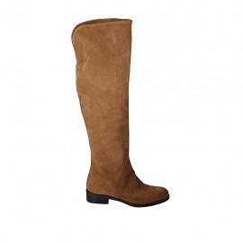 Woman's high boot with half zipper in tan brown suede heel 3