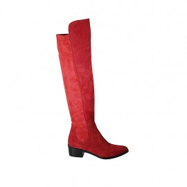 Woman's high pointy boot in red suede and elastic material heel 4