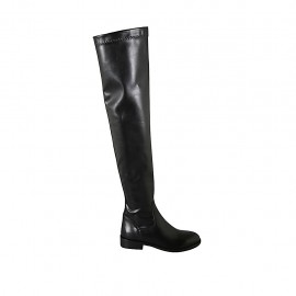Woman's over-the-knee boot in black leather and elastic material heel 3
