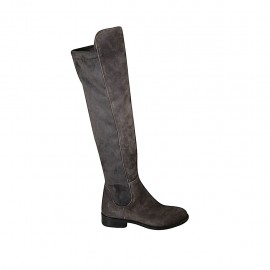 Woman's boot in grey suede and elastic material heel 3