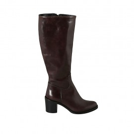 Woman's boot in brown leather with zipper heel 6