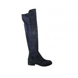 Woman's boot in blue suede and elastic material heel 3