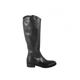 Woman's classic boot with zipper in black leather heel 3