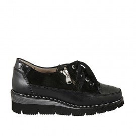 Zapato con cordones y cremallera en piel, gamuza y piel estampada negra cuña 4 - Tallas disponibles:  33, 34, 42, 43, 44, 45, 46