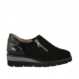 Zapato con cremallera y elastico para mujer en gamuza, charol imprimido y piel negra cuña 4 - Tallas disponibles:  33, 34, 42, 43, 44, 45, 46