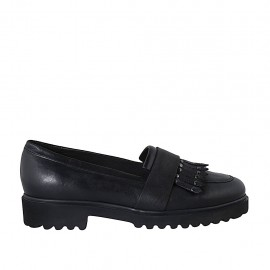 Woman's moccasin shoe with fringes and studs in black leather heel 3 - Available sizes:  42, 43, 44