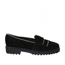 Woman's moccasin shoe with fringes and studs in black suede and platinum trimming heel 3 - Available sizes:  42, 43, 44, 45