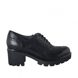 Woman's laced Oxford shoe in black leather with wingtip heel 5 - Available sizes:  32, 33, 34, 42, 43, 44