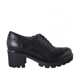 Zapato oxford para mujer con cordones y punta de ala en piel negra tacon 5 - Tallas disponibles:  32, 33, 34, 42, 43, 44