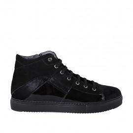 Zapato para mujer con cremallera, cordones y plantilla extraible en gamuza, piel forrada y charol negro cuña 3 - Tallas disponibles:  42, 43, 44, 45