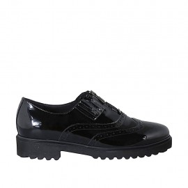 Woman's shoe with zipper, wingtip and elastic band in black patent leather heel - Available sizes:  42, 43, 44
