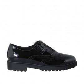 Zapato con cremallera, punta de ala y elasticos para mujer en charol negro tacon 3 - Tallas disponibles:  42, 43, 44