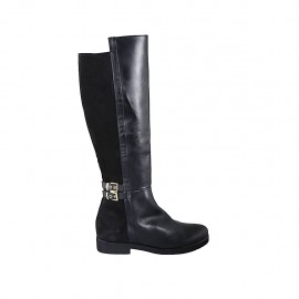 Woman's high boot with buckles and zipper in black suede and leather heel 3