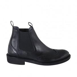 Herrenstiefelette mit Gummibändern und Broguemuster aus schwarzem Leder - Verfügbare Größen:  37, 38, 47, 48, 49, 50