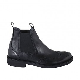 Men's ankle boot with elastic bands and Brogue decoration in black leather