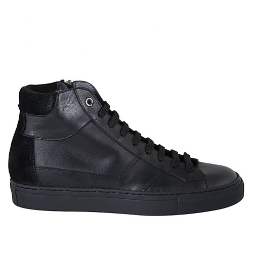 Man's laced shoe with zipper and removable insole in black leather and suede - Available sizes:  38, 47, 48, 50