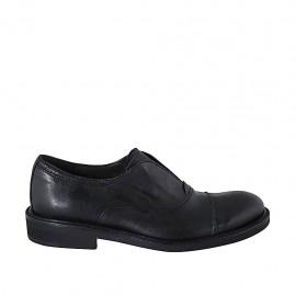 Chaussure fermée pour hommes avec elastique e bout droit en cuir noir - Pointures disponibles:  37, 38, 47, 48, 49, 50