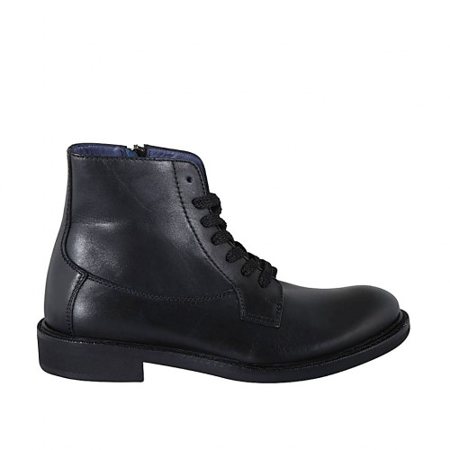 Men's laced ankle boot with zipper in black leather - Available sizes:  37, 38, 47, 48, 50