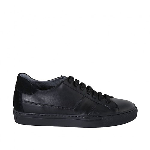 Man's laced shoe with removable insole in black leather and suede - Available sizes:  47, 50