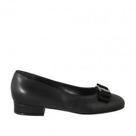 Ballerine avec noeud en tissu pour femmes en cuir noir talon 2 - Pointures disponibles:  33, 34, 42, 43, 44, 45