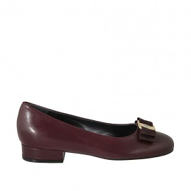 Woman's ballerina shoe with fabric bow in maroon leather heel 2 - Available sizes:  33, 34, 42, 43, 44, 45