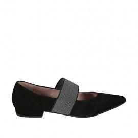 Bailerina puntiaguda para mujer con elastico brillante en gamuza negra tacon 1 - Tallas disponibles:  33, 34, 42, 43, 44, 45