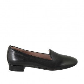 Woman's loafer in black leather heel 2 - Available sizes:  33, 34, 42, 43, 44, 45