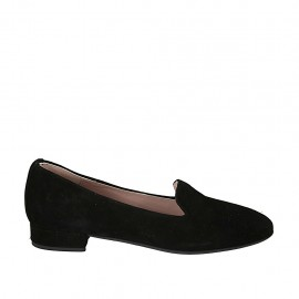 Woman's loafer in black suede with heel 2 - Available sizes:  33, 34, 43, 44