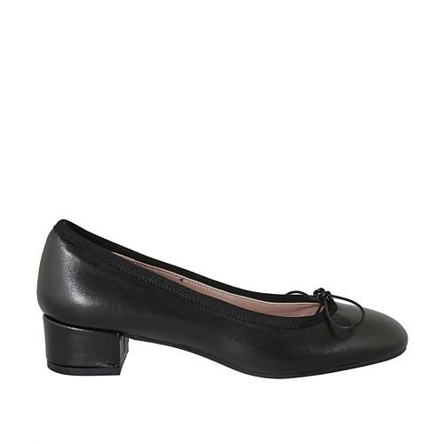 Zapato de salon para mujer con moño en cuir noir tacon 3 - Tallas disponibles:  33, 43, 44