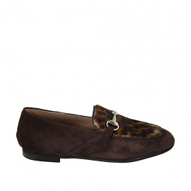 Women's loafer with accessory in brown suede and spotted fur leather heel 1 - Available sizes:  33, 43, 44, 45