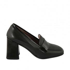 Mokassin für Damen aus schwarzem Leder und Lackleder Absatz 8 - Verfügbare Größen:  32, 33, 34, 42, 43, 44, 45