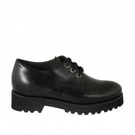 Woman's derby laced shoe in black smooth leather with removable insole heel 4 - Available sizes:  33, 34, 43, 44, 45