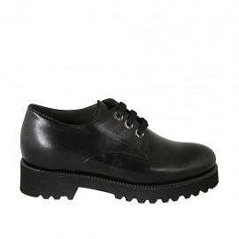 Zapato derby con cordones para mujer en piel lisa negra con plantilla extraible tacon 4 - Tallas disponibles:  33, 34, 43, 44, 45