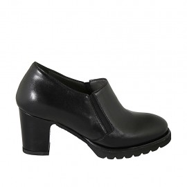Woman's highfronted shoe with elastics and removable insole in black leather heel 7 - Available sizes:  32, 33, 34, 42, 43, 44, 45