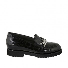 Woman's mocassin with accessory and removable insole in black printed patent leather heel 3 - Available sizes:  33, 34, 42, 43, 44, 45