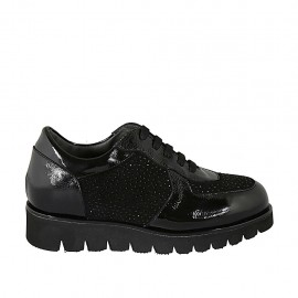 Zapato para mujer con cordones, plantilla extraible y estrases en charol y gamuza negra cuña 3 - Tallas disponibles:  33, 42, 43, 44, 45