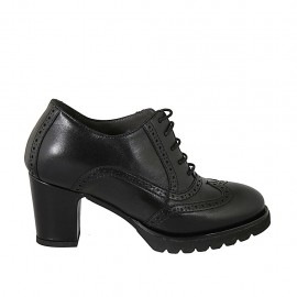 Zapato Oxford para mujer con cordones, plantilla extraible y punta de ala e en piel negra tacon 7 - Tallas disponibles:  33, 34, 42, 43, 44, 45