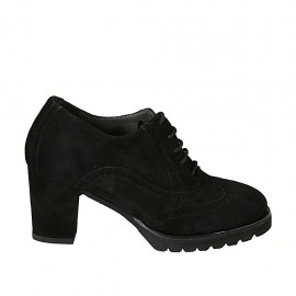 Woman's highfronted Oxford laced shoe with removable insole and wingtip in black suede heel 7 - Available sizes:  32, 33, 34, 42, 43, 44, 45