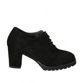 Zapato Oxford para mujer con cordones, plantilla extraible y punta de ala en gamuza negra tacon 7 - Tallas disponibles:  32, 33, 34, 42, 43, 44, 45