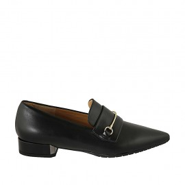 Woman's loafer with accessory in black leather heel 2 - Available sizes:  34, 42, 43, 44, 45