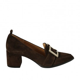 Woman's mocassin with buckle in light brown suede heel 5 - Available sizes:  32, 33, 34, 42, 43, 44, 45