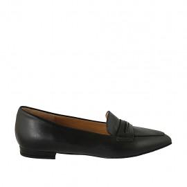 Spitzer Mokassinschuh für Damen aus schwarzem Leder Absatz 1 - Verfügbare Größen:  34, 42, 43, 44, 45