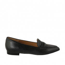 Woman's pointy loafer in black leather heel 1 - Available sizes:  34, 42, 43, 44, 45
