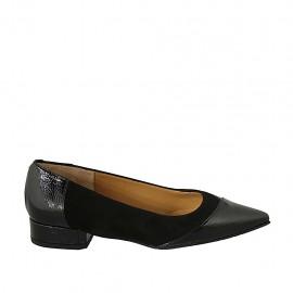 Zapato bailarina para mujer en gamuza y charol negro tacon 2 - Tallas disponibles:  33, 34, 42, 43, 44, 45, 46