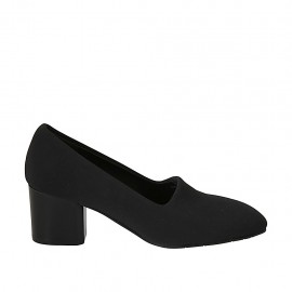 Zapato para mujer en tejido elastico negro tacon 6 - Tallas disponibles:  31, 32, 33, 34, 42, 43, 44, 45